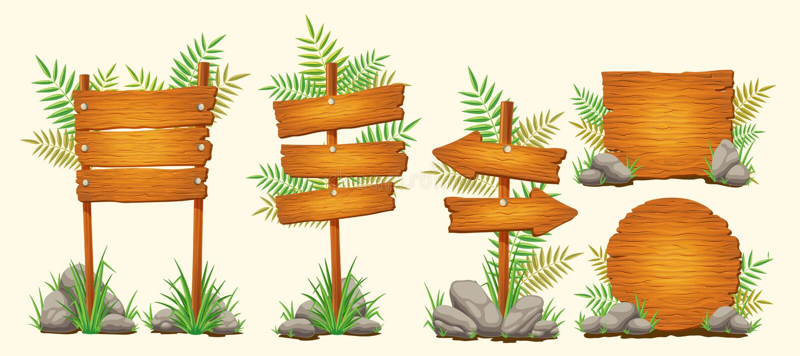 Satz Vektorkarikaturholzschilder von verschiedenen Formen stock abbildung