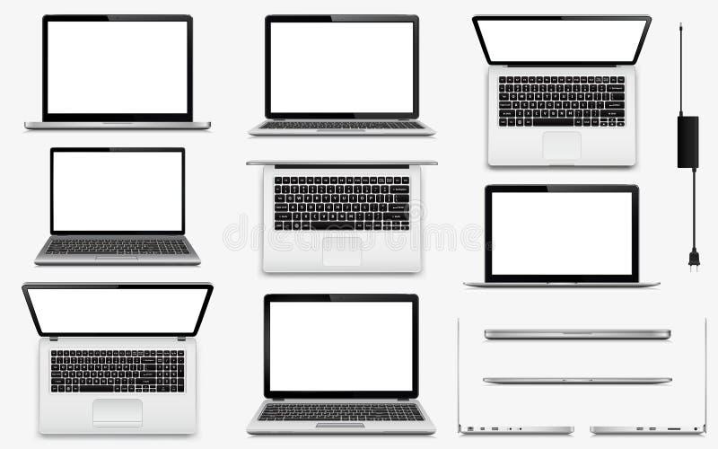Satz VektorLaptop-Computer lizenzfreie stockbilder