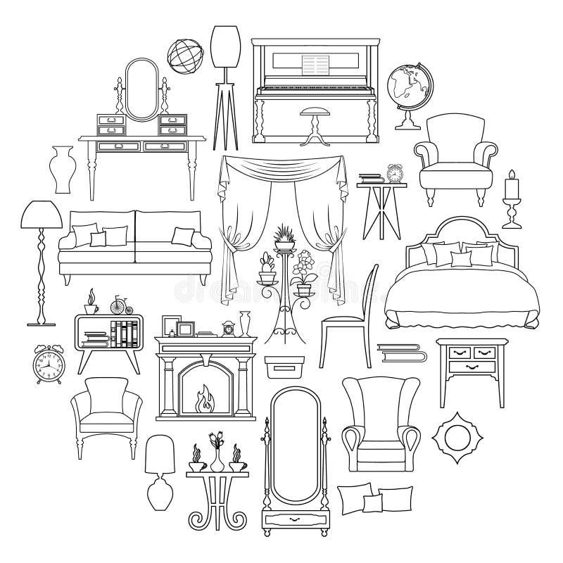 Satz Vektormöbelikonen in der Entwurfsart lizenzfreie abbildung