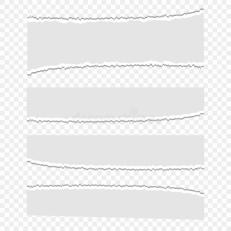 Satz Vektorpapierschrotte auf einem transparenten lokalisierten Hintergrund Blätter Papier, Abfall Stücke heftiges Papier vektor abbildung