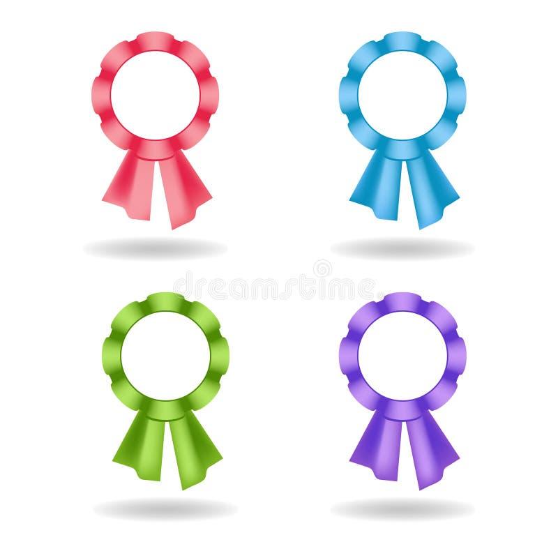 Satz Vektorrosetten Dekoration von stieg, Blau, Grün, violette Bänder stock abbildung