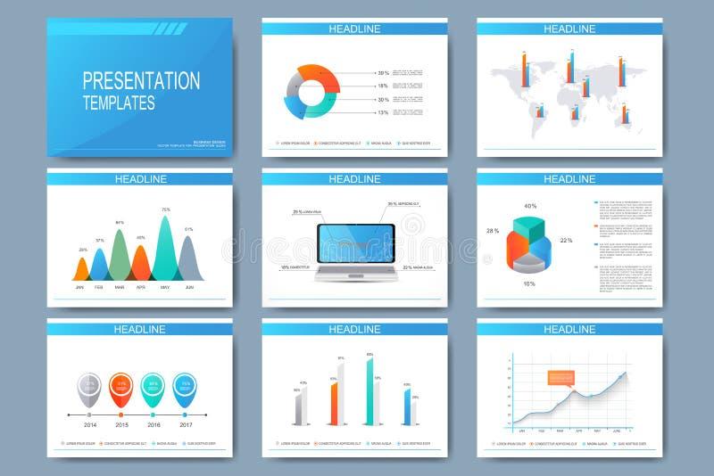 Satz Vektorschablonen für Darstellungsdias Modernes Geschäftsdesign mit Diagramm und Diagrammen lizenzfreie abbildung
