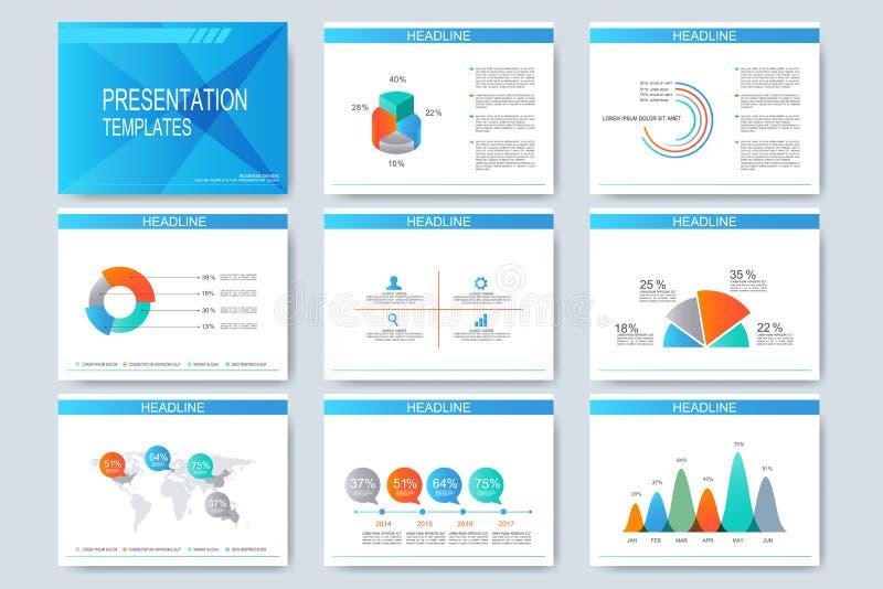 Satz Vektorschablonen für Vielzweckdarstellung schiebt Modernes Geschäftsdesign mit Diagramm und Diagrammen stock abbildung