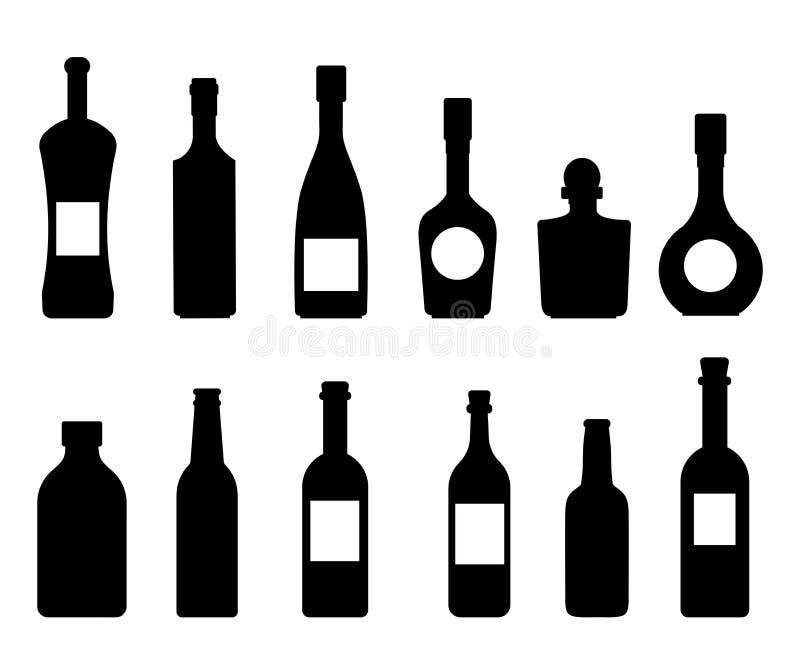Satz Vektorschattenbilder der Flaschenikonen-Weinsammlung auf einem weißen Hintergrundvektor lizenzfreie abbildung