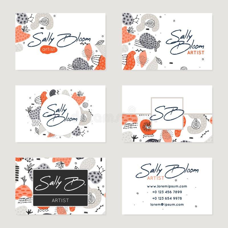 Satz Vektorvisitenkarteschablonen Handgezogene abstrakte Formen mit verschiedenen Beschaffenheiten, Stellen stock abbildung