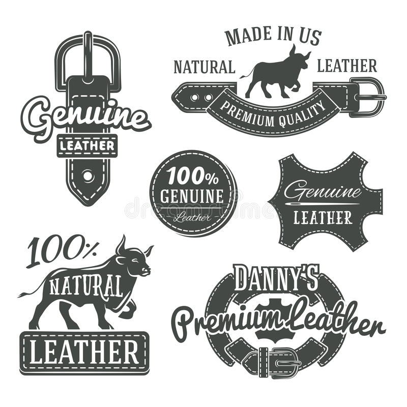 Satz Vektorweinlesegurt-Logodesigne, Retro- lizenzfreie abbildung