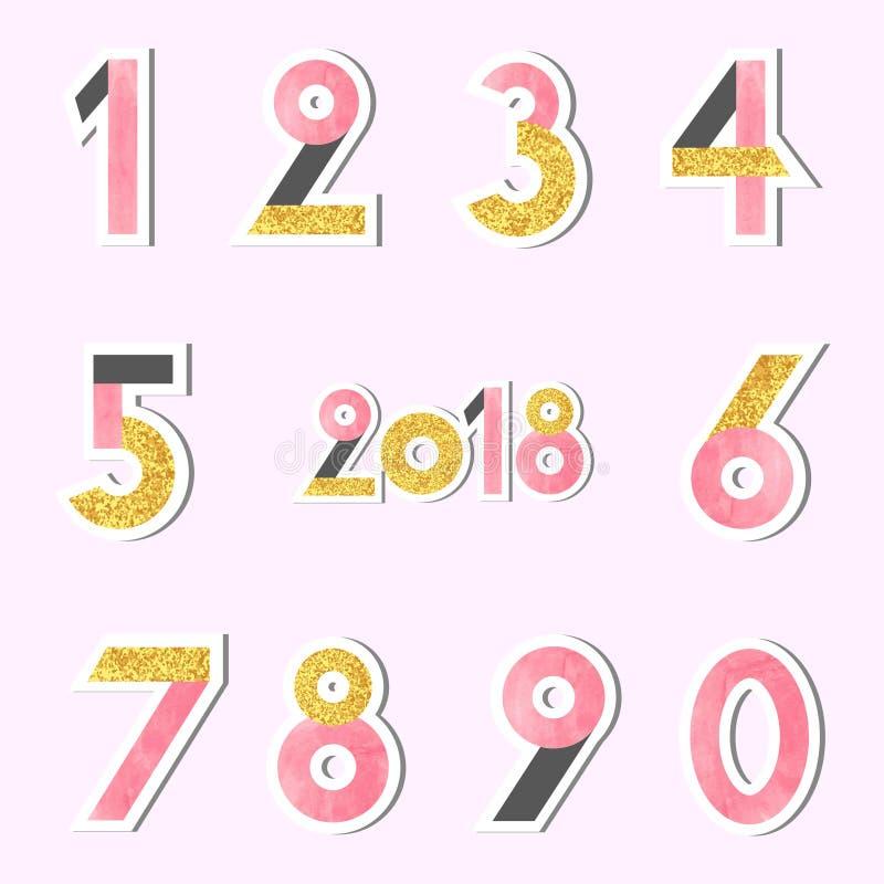 Satz Vektorzahlen stock abbildung