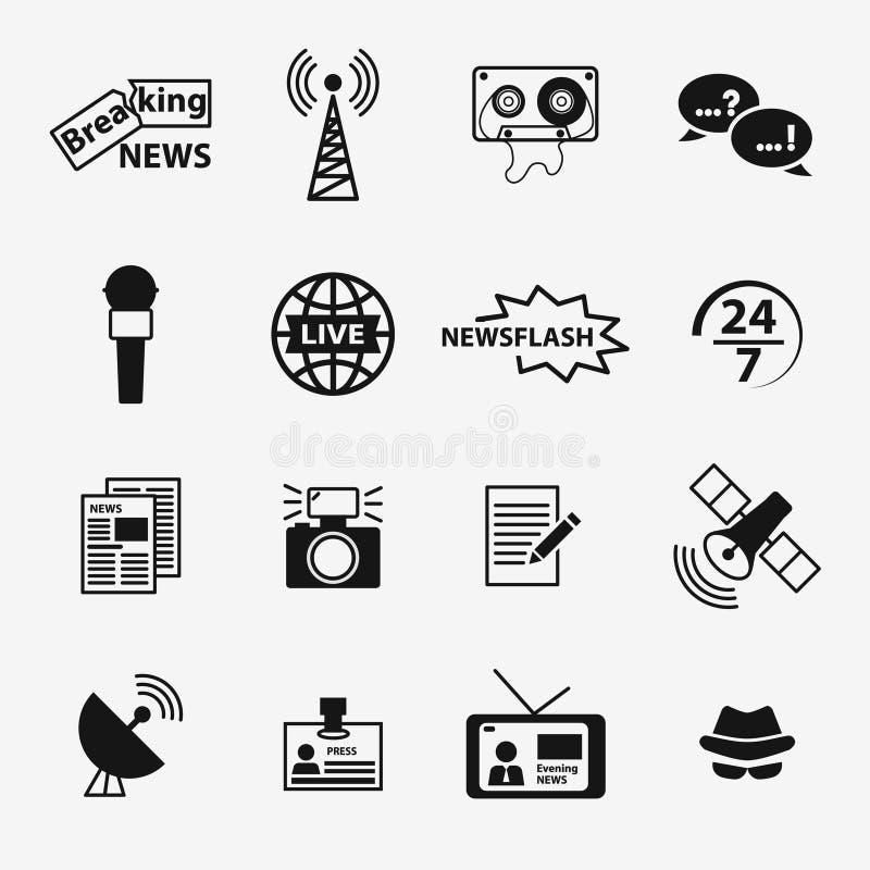 Satz in Verbindung stehende Ikonen des Journalismus lizenzfreie abbildung