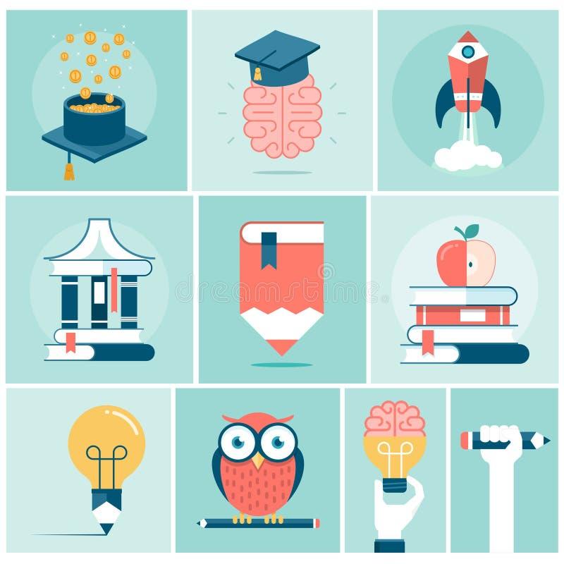 Satz in Verbindung stehende Konzeptfahnen der Bildung stock abbildung