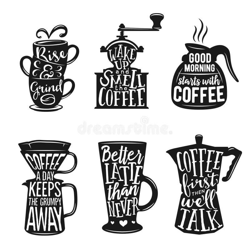 Satz in Verbindung stehende Typografie des Kaffees Zitate über Kaffee Weinlesevektorillustrationen stock abbildung