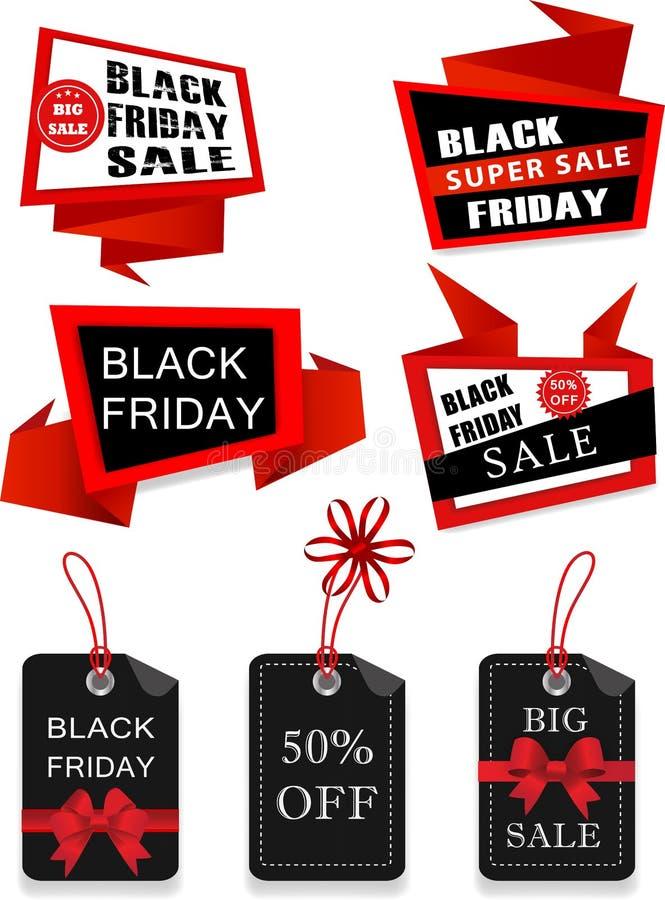 Satz Verkaufs-Origami-Aufkleber Black Fridays große, Fahnen, Aufkleber, lizenzfreie abbildung