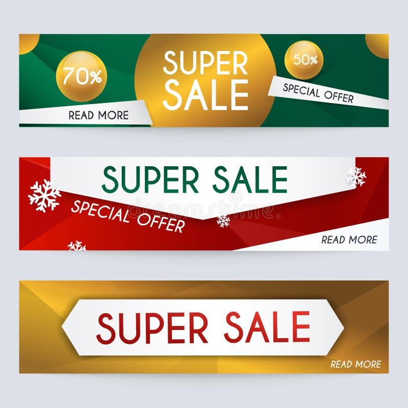 Satz Verkaufsweihnachtsfahnen entwerfen, Rabatte und Sonderangebot lizenzfreie abbildung
