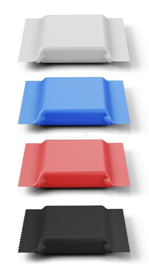 Satz Verpackung der unterschiedlichen Farbe für einen Keks lizenzfreie abbildung