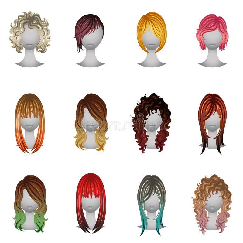 Satz verschiedene Arten und Haarfarben stockbild