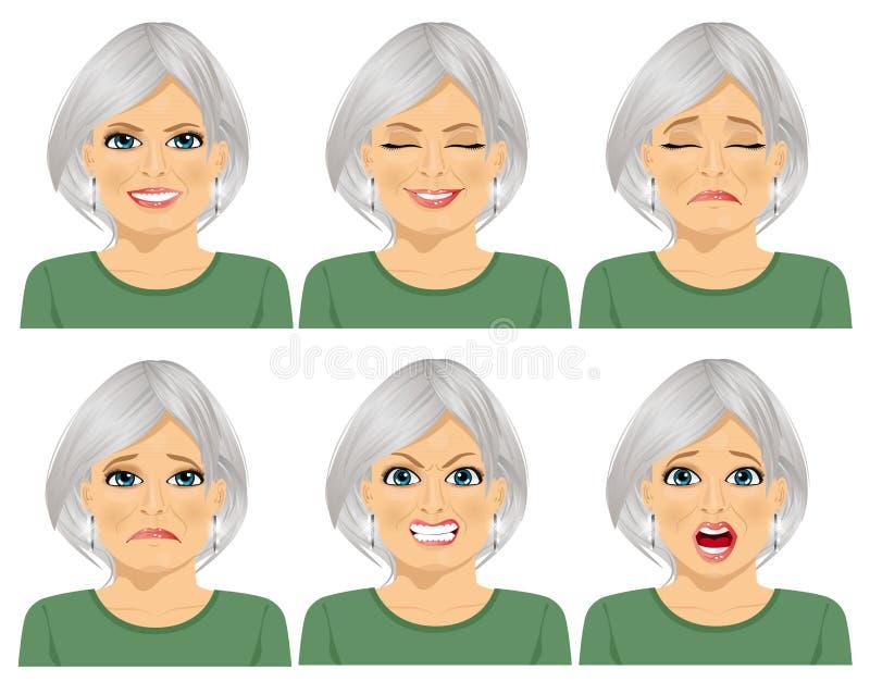 Satz verschiedene Ausdrücke der gleichen älteren Frau stock abbildung