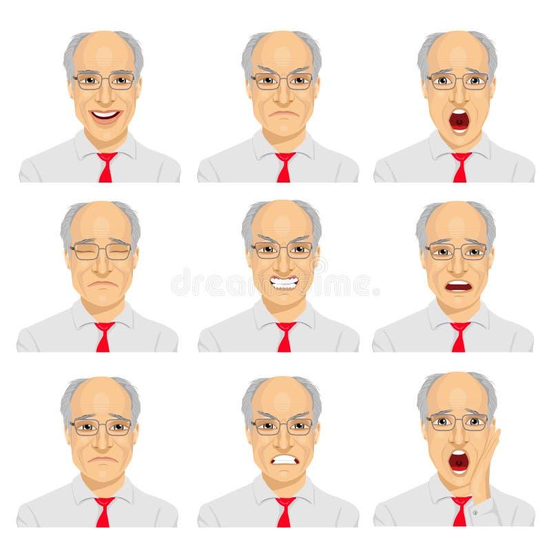 Satz verschiedene Ausdrücke des gleichen älteren Geschäftsmannes mit Gläsern stock abbildung
