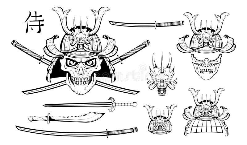Satz verschiedene Elemente von Samurais entwerfen - Samuraimaske, Sturzhelm, japanische Klinge, katana Klinge, chinesischen Drach lizenzfreie abbildung