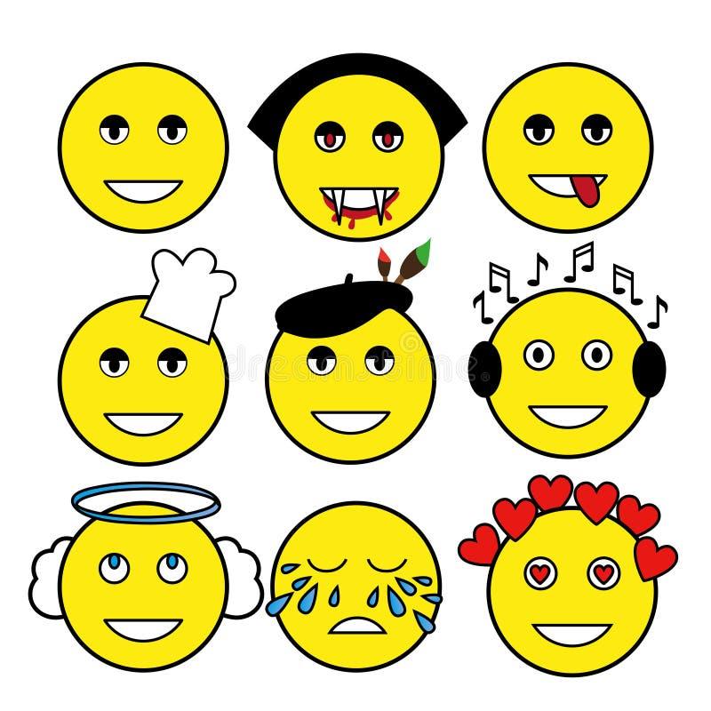 Satz verschiedene Emoticons Smiley: Vampir, Künstler, Chef, Engel, Musikfreund, Lächeln, Risse, Liebe, Tyrann lizenzfreie abbildung