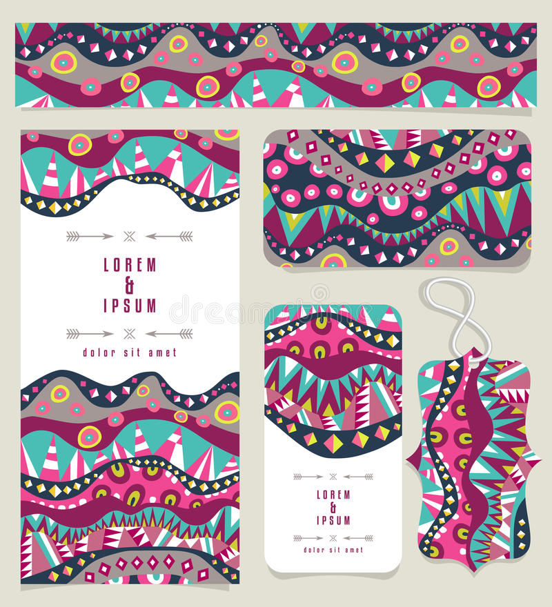 Satz verschiedene Fahnen mit eingeborenen Muster-Weinlese-Farben stock abbildung