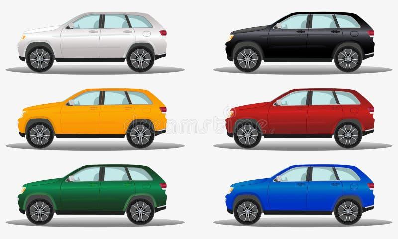 Satz verschiedene Farbgeländeautos, Fahrzeuge nicht für den Straßenverkehr vektor abbildung