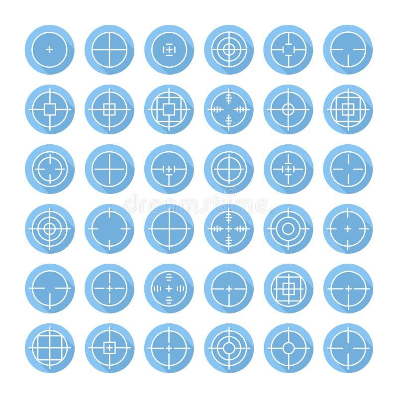 Satz verschiedene flache Vektorfadenkreuz-Zeichenikonen lizenzfreie abbildung