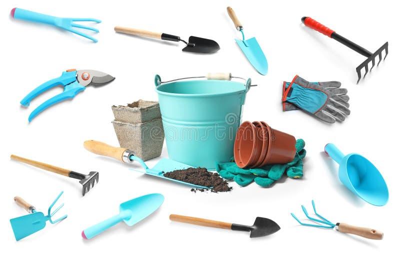 Satz verschiedene Gartenarbeitwerkzeuge stockfotografie