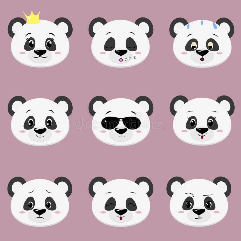 Satz verschiedene Gefühle des netten Pandabärn-Gesichtes in der Karikaturart lizenzfreie abbildung