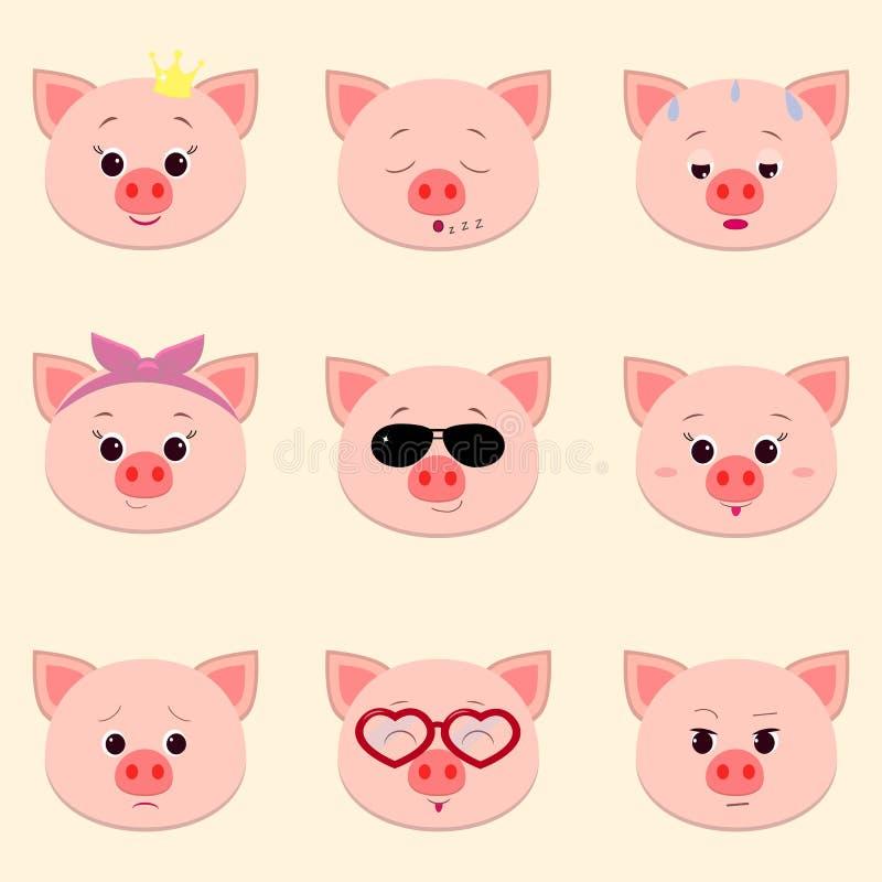 Satz verschiedene Gefühle des netten piggy Gesichtes in der Karikaturart vektor abbildung