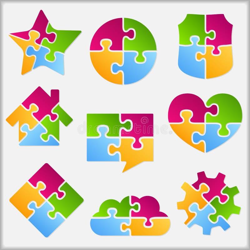 Puzzlespiel-Gegenstände vektor abbildung