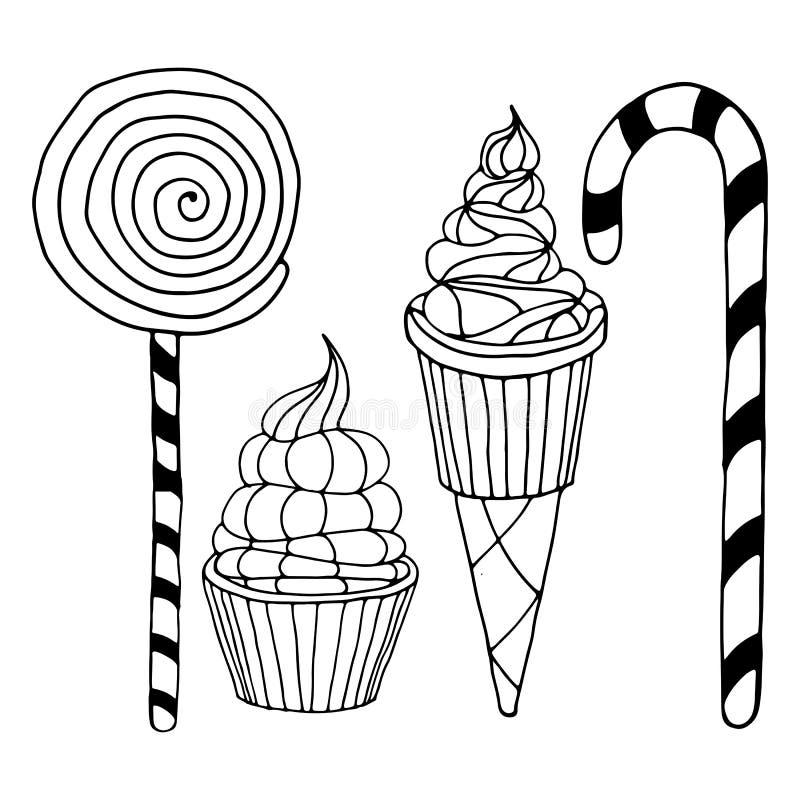 Satz verschiedene Gekritzel, Hand gezeichnete raue einfache Bonbons und Süßigkeitsskizzen stockbild