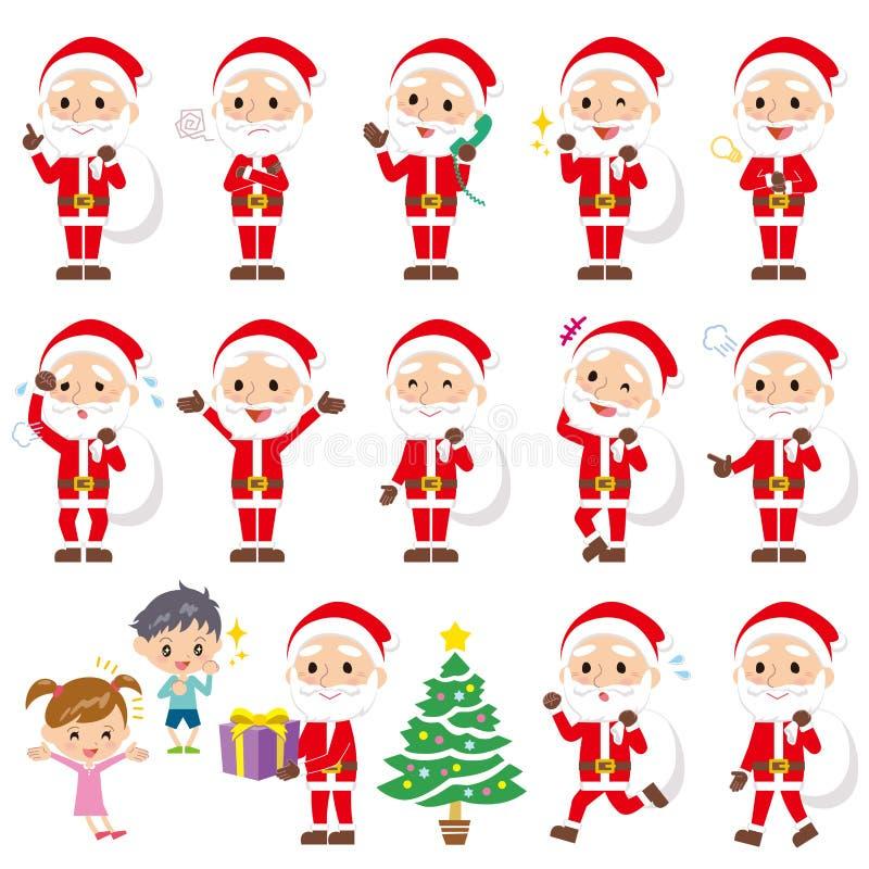 Satz verschiedene Haltungen von Weihnachtsmann stock abbildung