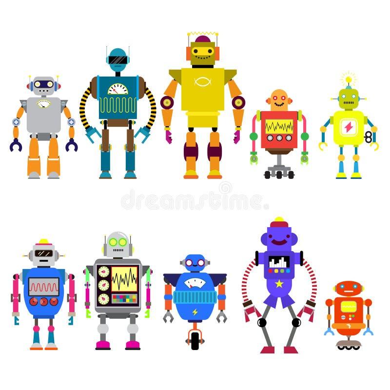 Satz verschiedene Karikaturrobotercharaktere, Raumfahrer Cyborgikonenlinie Art lokalisiert auf weißem Hintergrund vektor abbildung