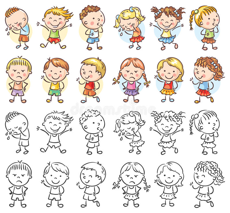 Satz verschiedene Kinder mit verschiedenen Gefühlen vektor abbildung