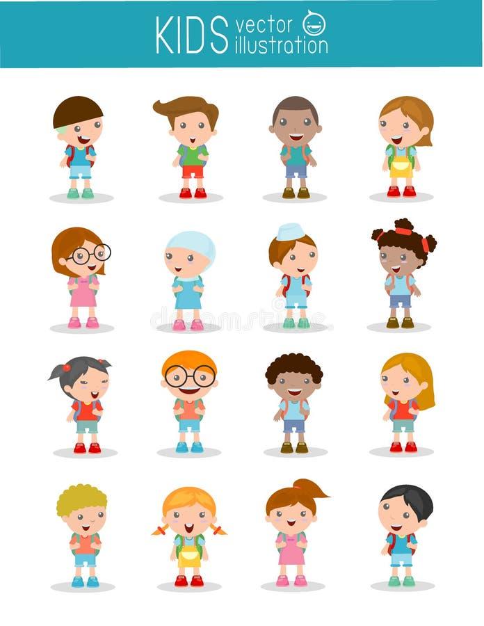 Satz verschiedene Kinder und verschiedene Nationalitäten lokalisiert auf weißem Hintergrund stock abbildung