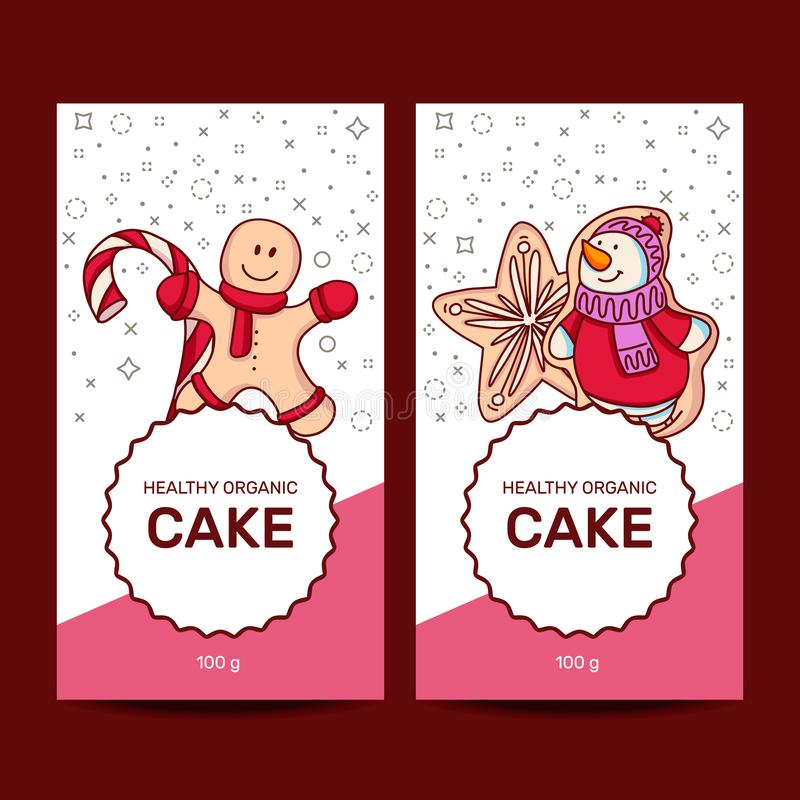 Satz verschiedene Lebkuchen Sankt Klaus, Himmel, Frost, Beutel vektor abbildung