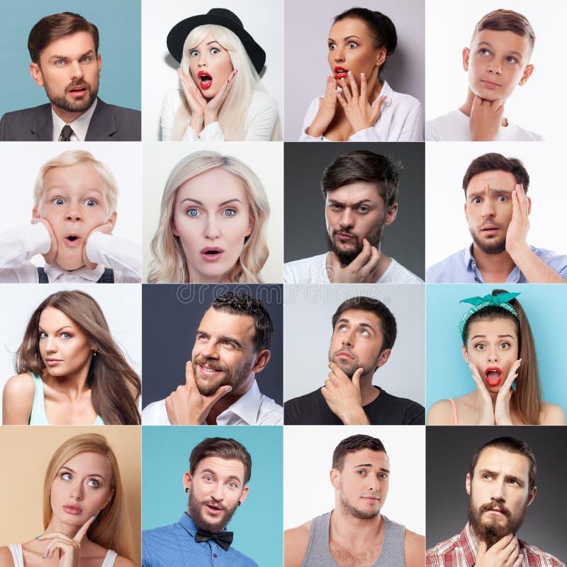 Satz verschiedene Leute, die verschiedene Gefühle zeigen lizenzfreie stockfotos