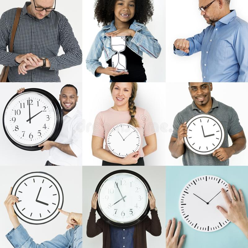 Satz verschiedene Leute mit Zeit-Management-Studio-Collage lizenzfreie stockbilder