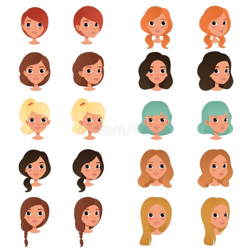 Satz verschiedene Mädchen ` s Frisuren und Farben: schwarz, blau, blond, rot, Braun Weiblicher Teenager mit großen glänzenden Aug vektor abbildung