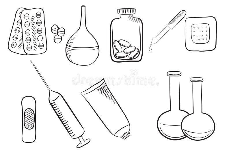 Satz verschiedene medizinische Ikonen, verschiedene Drogen, Pillen und medica lizenzfreie abbildung