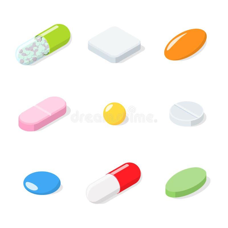 Satz verschiedene medizinische Pillen, Tabletten, Kapseln vektor abbildung