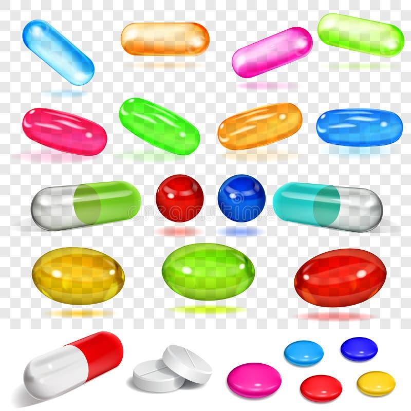 Satz verschiedene mehrfarbige Kapseln und Pillen stock abbildung