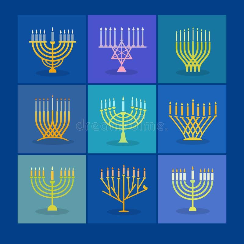 Satz verschiedene moderne menorah Ikonen für Chanukka stock abbildung