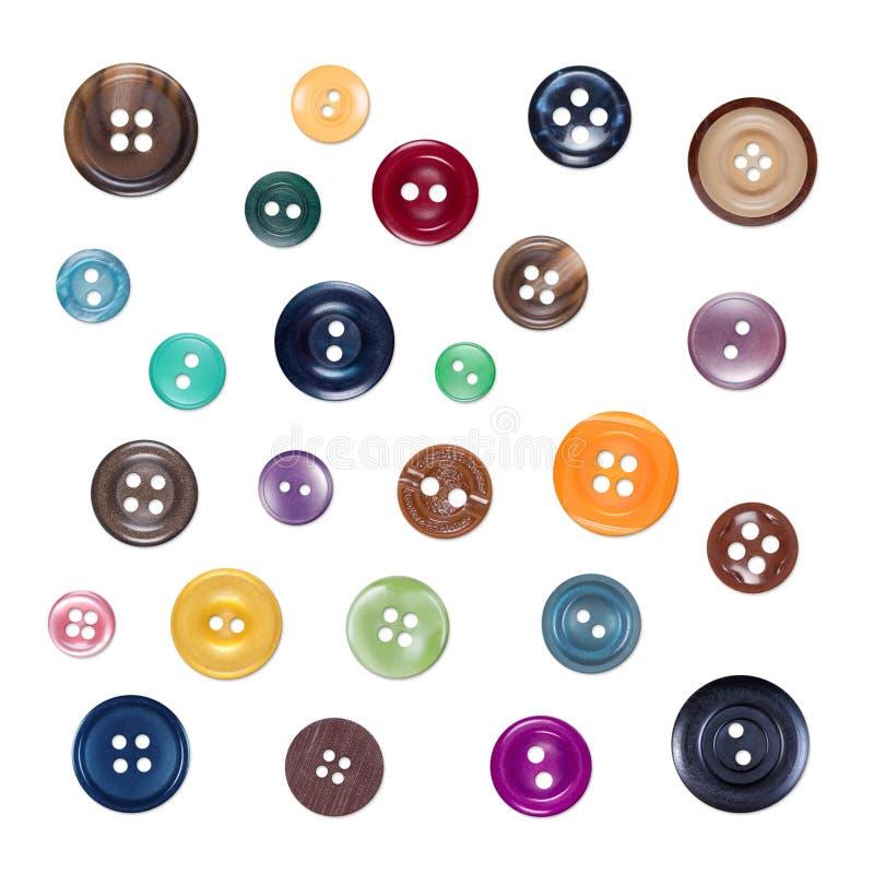 Satz verschiedene nähende bunte Plastikknöpfe, lokalisiert auf Weiß lizenzfreie abbildung