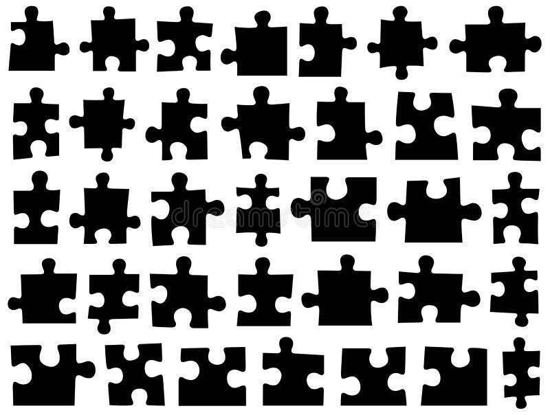 Satz verschiedene Puzzlespielstücke stock abbildung