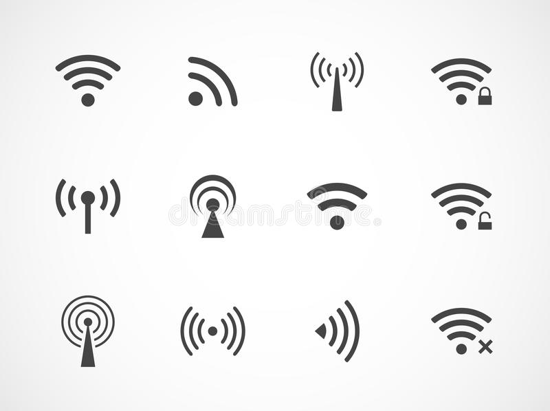 Satz verschiedene Radioapparat- und wifiikonen stock abbildung