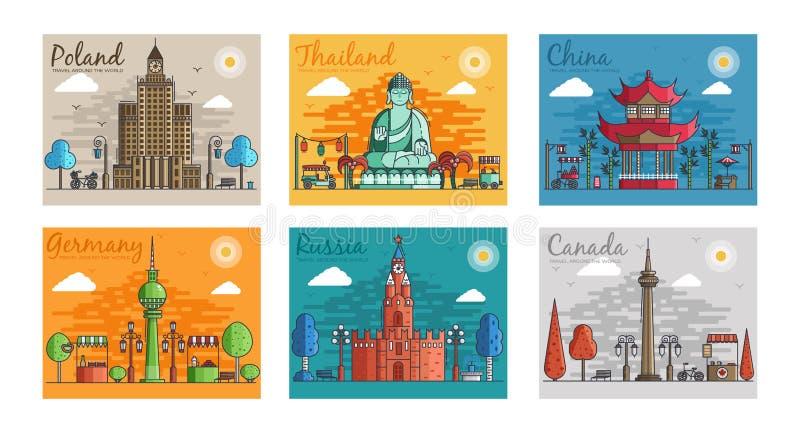 Satz verschiedene Städte für Reiseziele Marksteinfahnenschablone des Fliegers, Zeitschriften, Poster, Bucheinband vektor abbildung