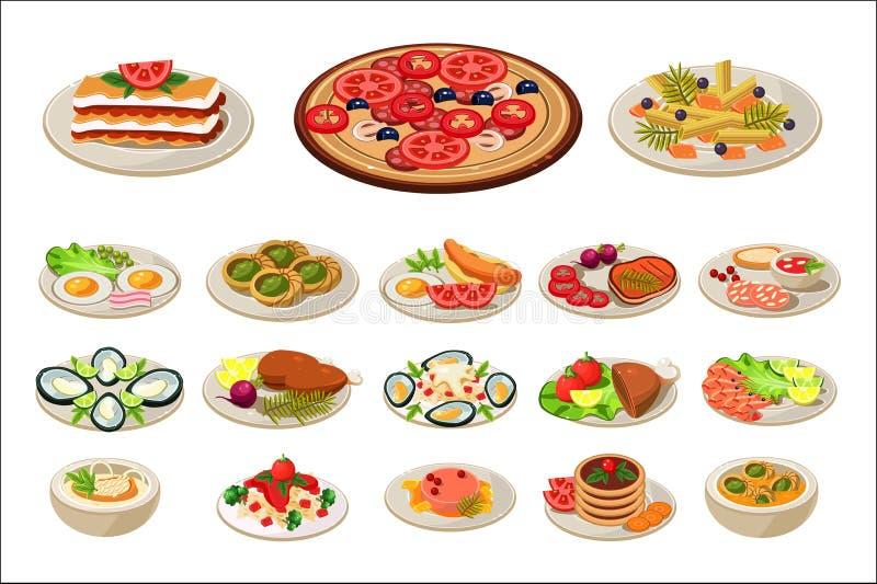 Satz verschiedene Teller auf Platten Geschmackvolle Nahrung Traditionelles Frühstück Europäermittagessen Flaches Vektordesign für stock abbildung