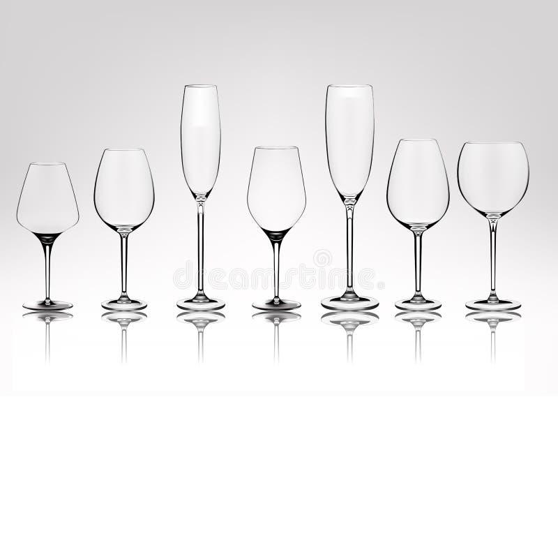 Satz verschiedene transparente Vektorweingläser leeren sich Vektor-Illustration in der photorealistic Art stock abbildung