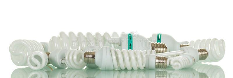 Satz verschiedene wirtschaftliche Diodenlampen lokalisiert auf Weiß lizenzfreies stockbild