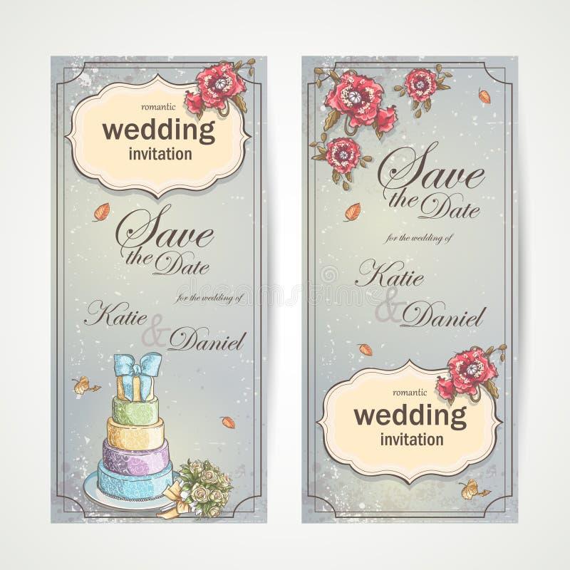 Satz vertikale Fahnen, die Einladungen mit roten Mohnblumen, Kuchen und einem Blumenstrauß von Rosen heiraten stock abbildung